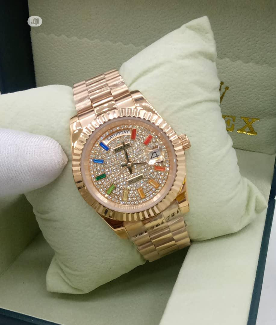 Rolex Gold Day-Date Automatic Watch, Multicolor Hour Markers