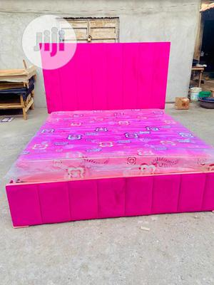 Family Size Padded Bed Frame With Original Mattress   Furniture for sale in Lagos State, Ojo