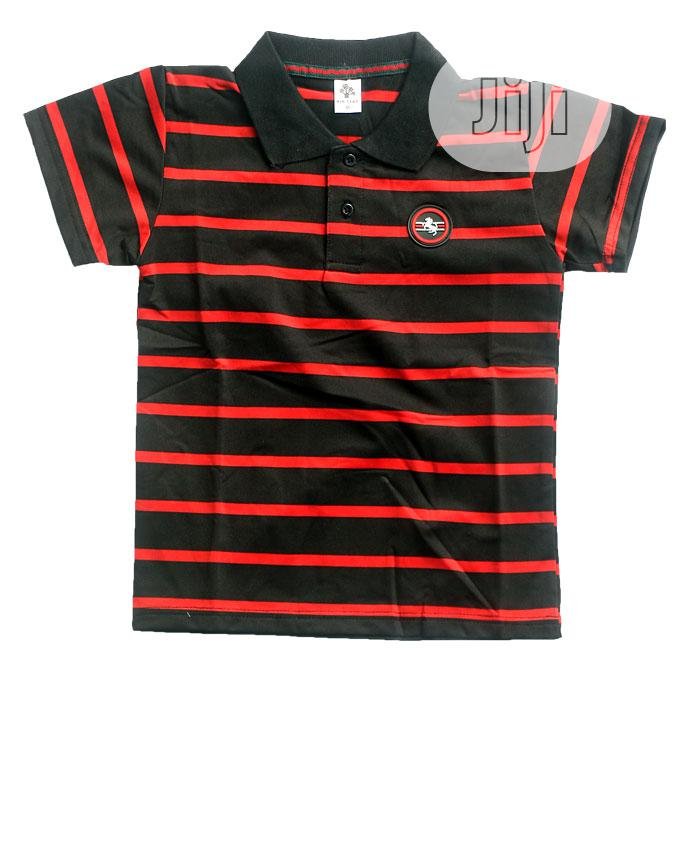 Boys Short Sleeve Top - Black,Red And Yellow