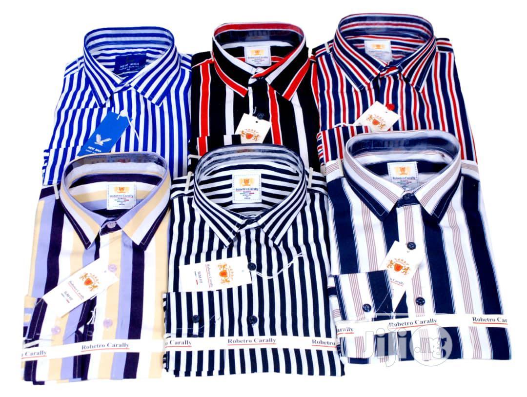 Sets Of Men Long Sleeve Stripe Shirt.