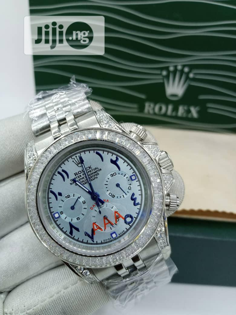 High Quality Rolex Silver Ice Chain With Arabic Dial