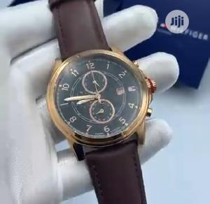 High Quality Tommy Hilfiger Black Dial Leather Watch | Watches for sale in Lagos State, Magodo