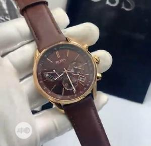 High Quality Hugo Boss Brown Dial Leather Watch   Watches for sale in Lagos State, Magodo