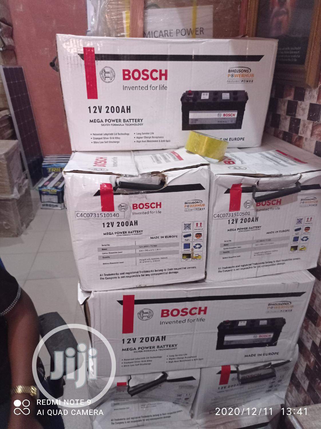 12volts 200ah Bosch Battery | Solar Energy for sale in Ojo, Lagos State, Nigeria