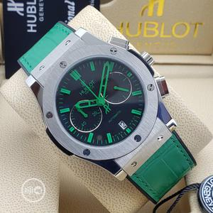 Hublot Chronograph Silver Green Leather Strap Watch | Watches for sale in Lagos State, Lagos Island (Eko)
