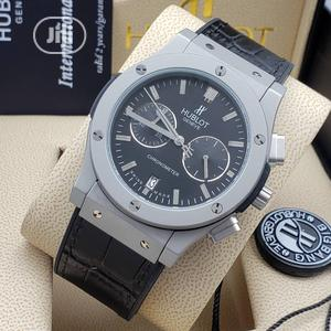 Hublot Chronograph Silver Black Leather Strap Watch | Watches for sale in Lagos State, Lagos Island (Eko)