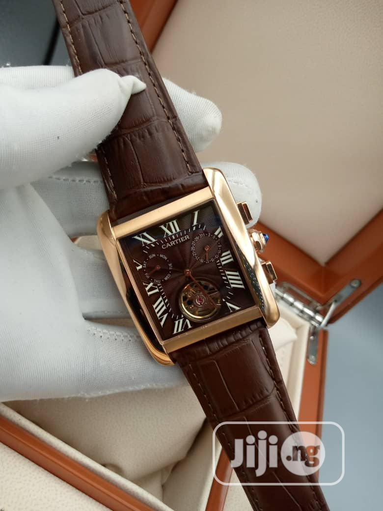 Quality and Unique Cartier Leather Wrist Watch