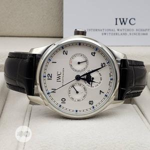 IWC Automatic Chronograph Silver Leather Strap Watch   Watches for sale in Lagos State, Lagos Island (Eko)
