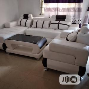L-Shaped Leather Sofa With One Single and a Center Table | Furniture for sale in Lagos State, Shomolu