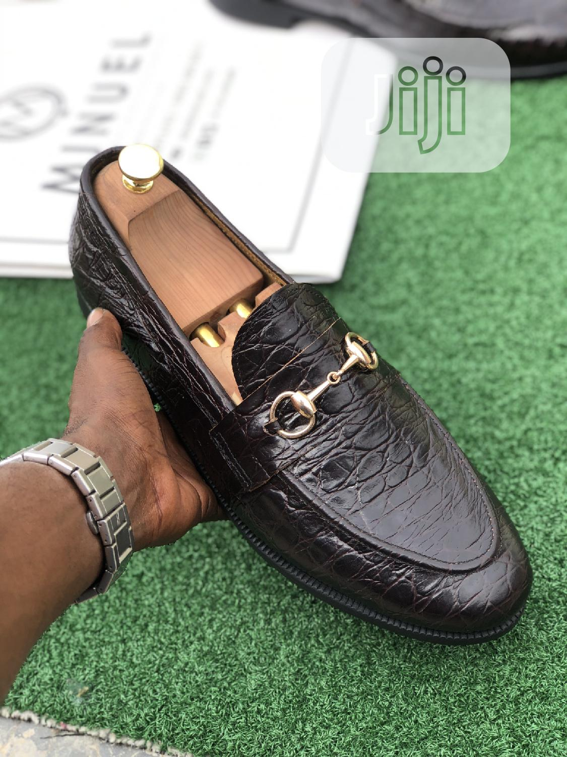 Black Skin Loafers With Gold Chain