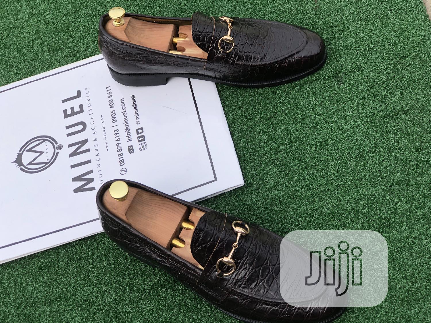 Black Skin Loafers With Gold Chain   Shoes for sale in Lekki, Lagos State, Nigeria