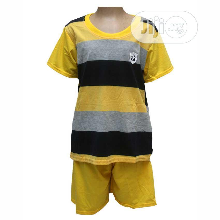 Boys Two Pcs Round Neck Top With Pants -yellow,Blue,Orange