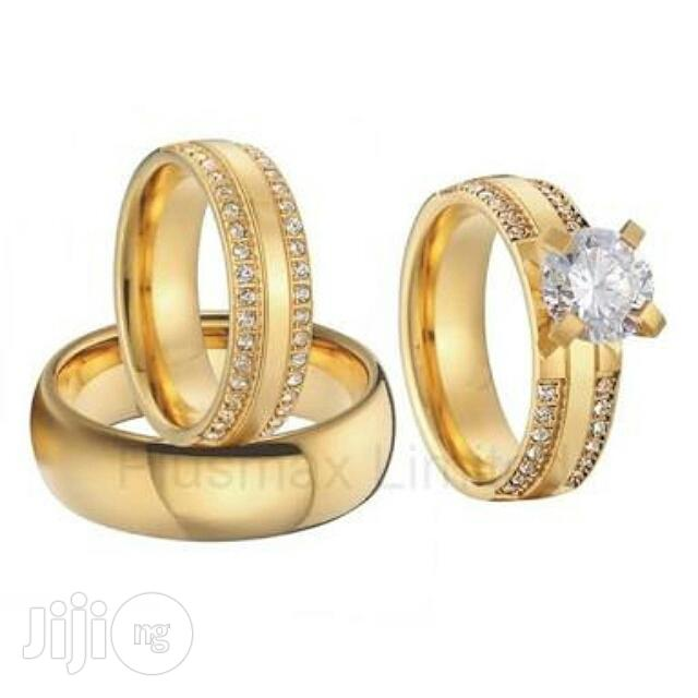 Gold Wedding Ring Engagement Ring Jewelry Set Of 3