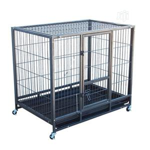 Metal Dog Cage (With Trolley Plastic Tray)   Pet's Accessories for sale in Lagos State, Ejigbo