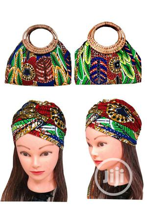 Stone Studded Ankara Fashion Bag With Turban Cap | Bags for sale in Lagos State, Ojodu