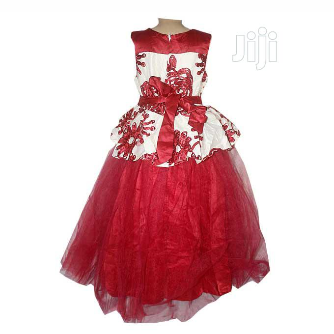 Princess Full Sleeveless Ball Party Dress - Wine and Cream | Children's Clothing for sale in Ojota, Lagos State, Nigeria