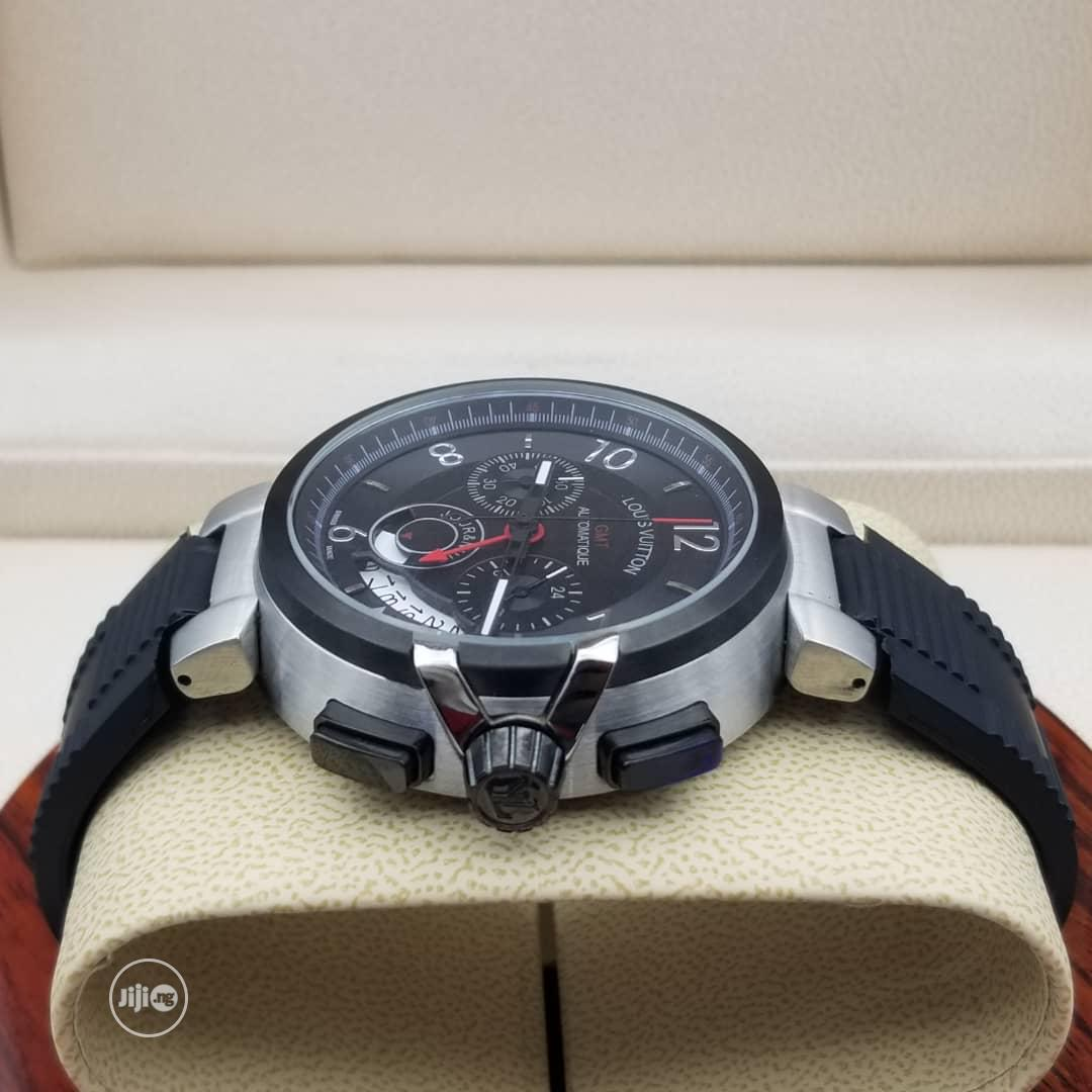Louis Vuitton (LV) Chronograph Silver/Black Rubber Watch