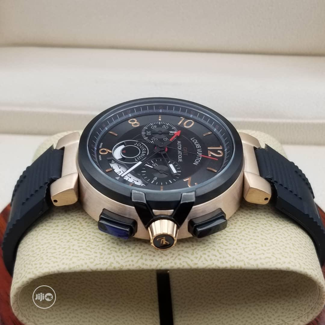 Louis Vuitton (LV) Chronograph Rose Gold/Black Rubber Watch