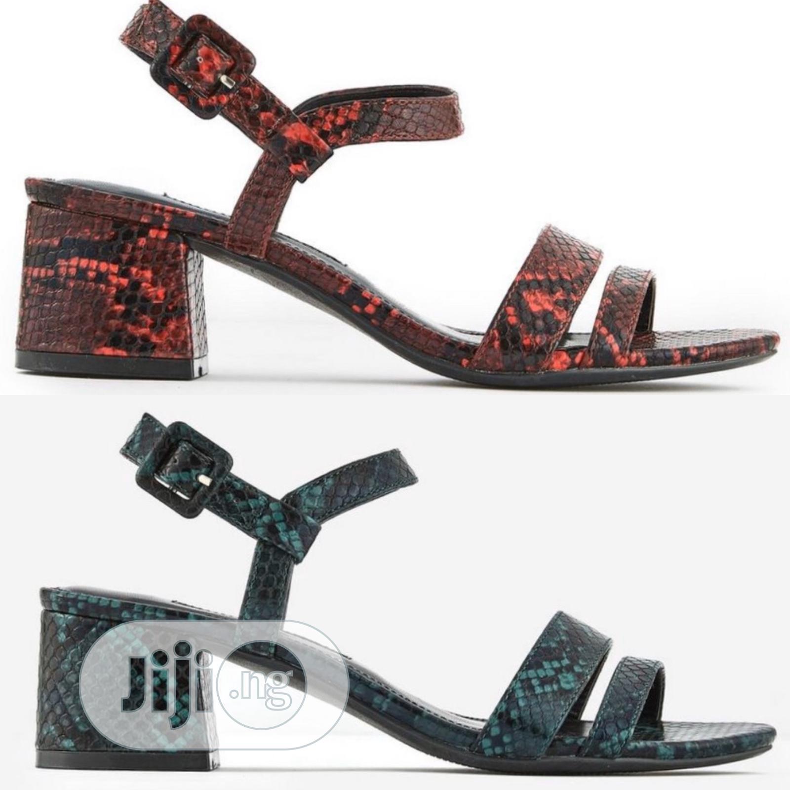 Block Mid Heel Sandals in Wine or Green Animal Skin