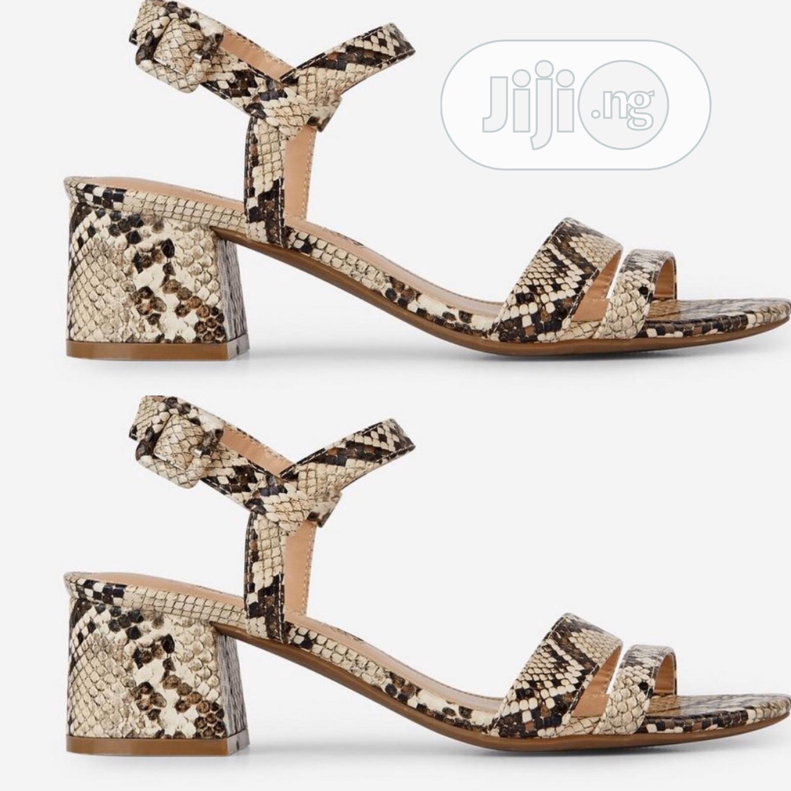 Block Mid Heel Sandals in Wine or Green Animal Skin | Shoes for sale in Lekki, Lagos State, Nigeria
