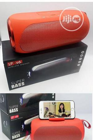Lp V6 Super Bass Bluetooth Wireless Speaker Red With P.Stand   Audio & Music Equipment for sale in Lagos State, Ikeja