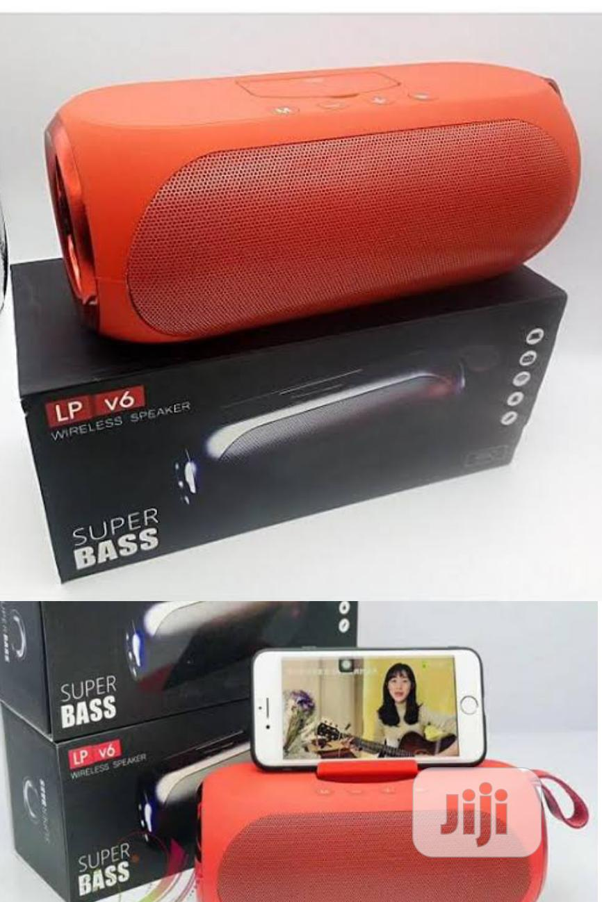Lp V6 Super Bass Bluetooth Wireless Speaker Red With P.Stand