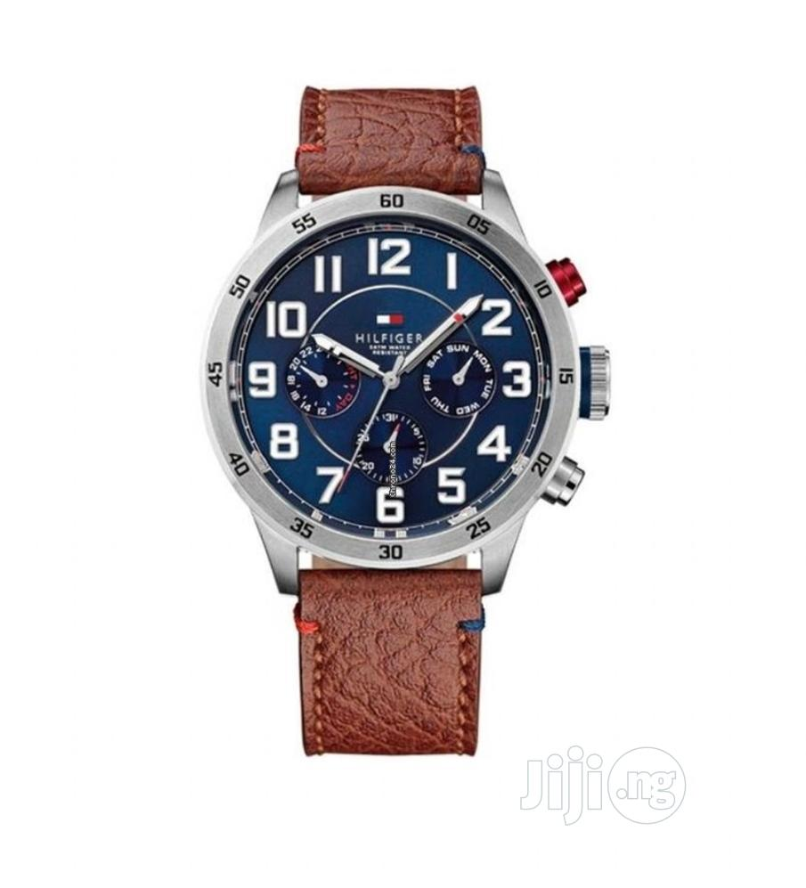High Quality Tommy Hilfiger Number Dial Leather Watch | Watches for sale in Magodo, Lagos State, Nigeria
