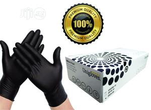 Uniglove Pearl Black Nitrile Gloves - Large - Box Of 100 Glo   Medical Supplies & Equipment for sale in Lagos State, Surulere
