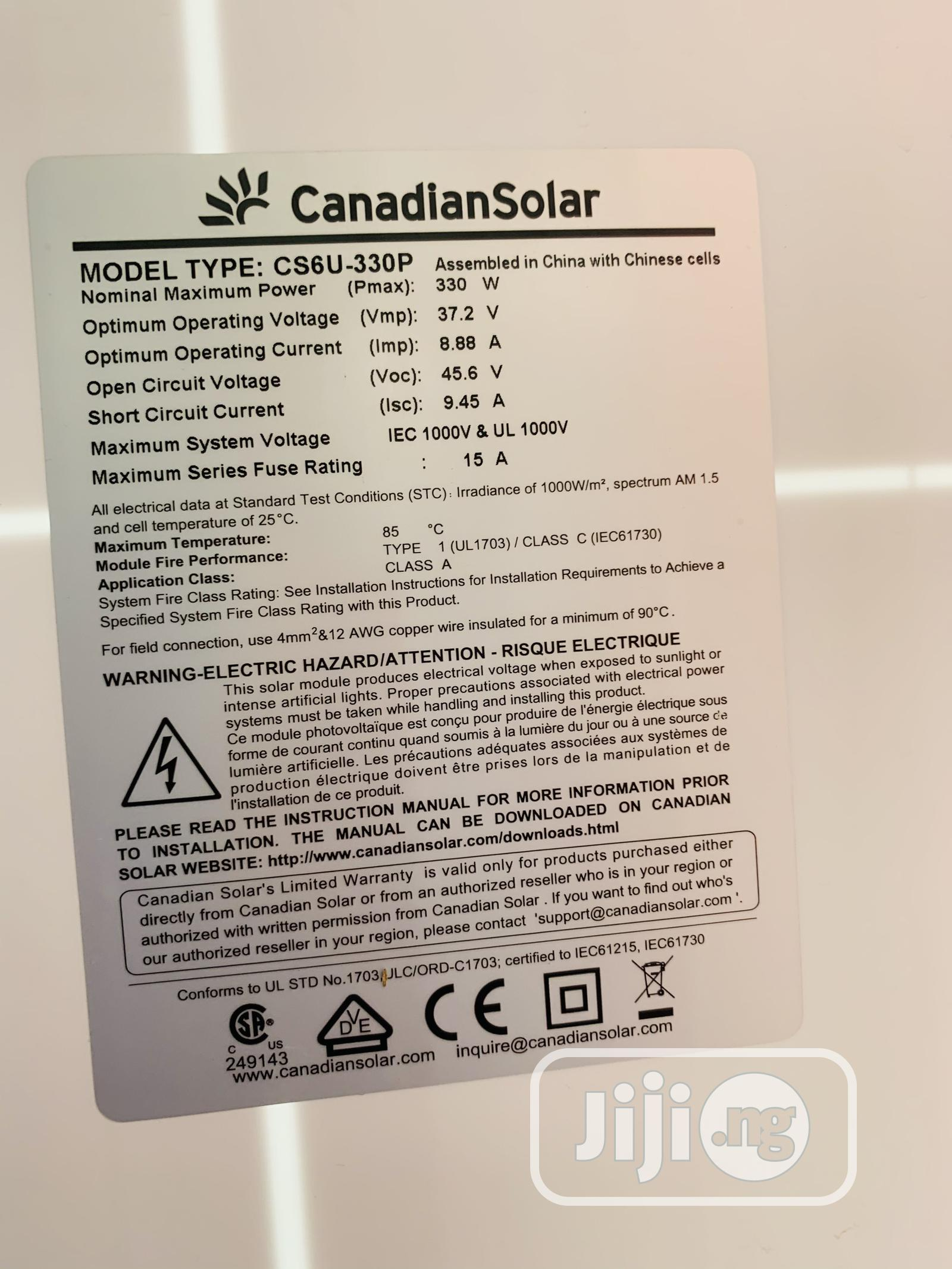 330watts Canadian Mono Solar Panel | Solar Energy for sale in Lekki, Lagos State, Nigeria
