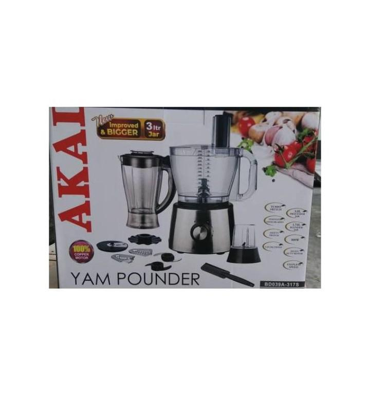 Akai Heavy Duty Yam Pounder and Food Processor - 3L | Kitchen Appliances for sale in Isolo, Lagos State, Nigeria