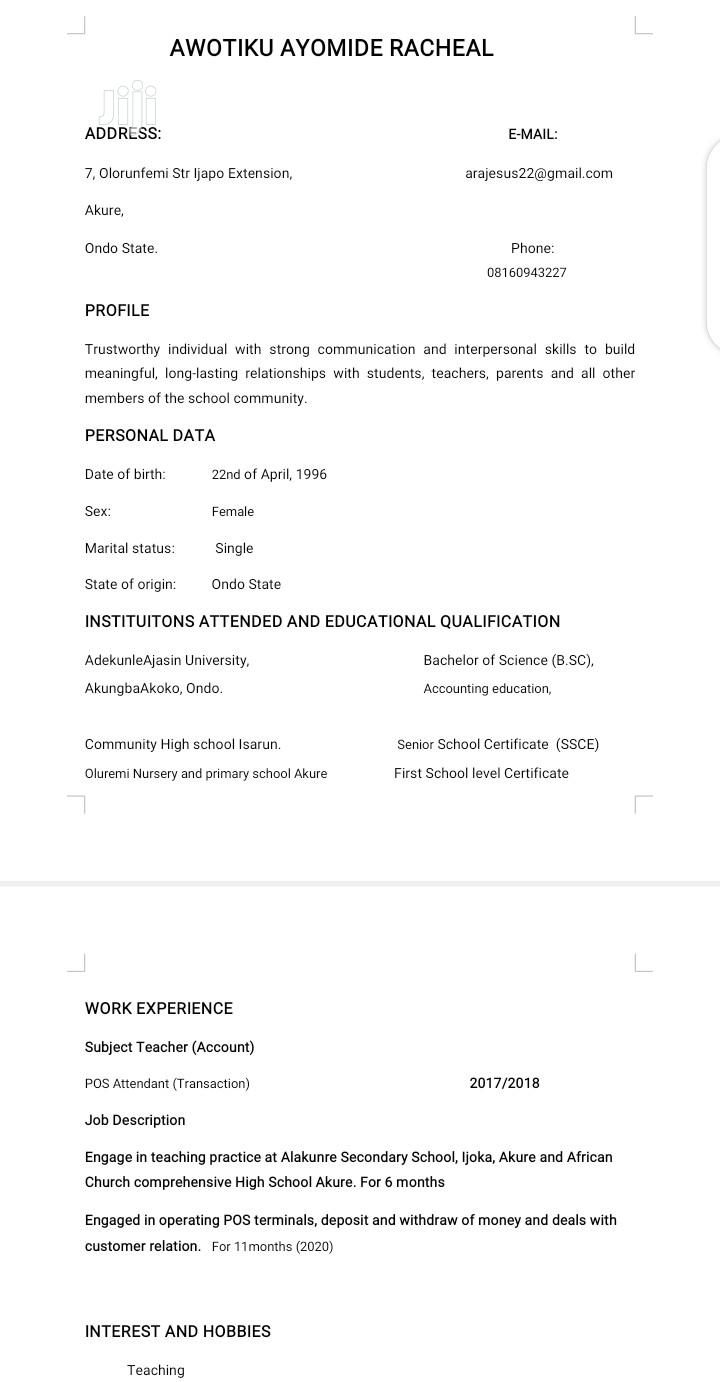 Clerical Administrative CV   Accounting & Finance CVs for sale in Jahi, Abuja (FCT) State, Nigeria