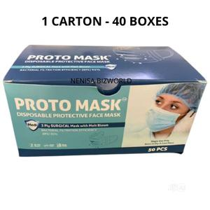 Proto Mask Surgical Disposable Face Mask 1 Carton 2000 Pcs | Medical Supplies & Equipment for sale in Lagos State, Kosofe