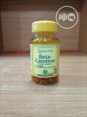 Puritan's Pride Beta Carotene 7,500mcg (25,000IU) X 100 | Vitamins & Supplements for sale in Lagos State, Surulere