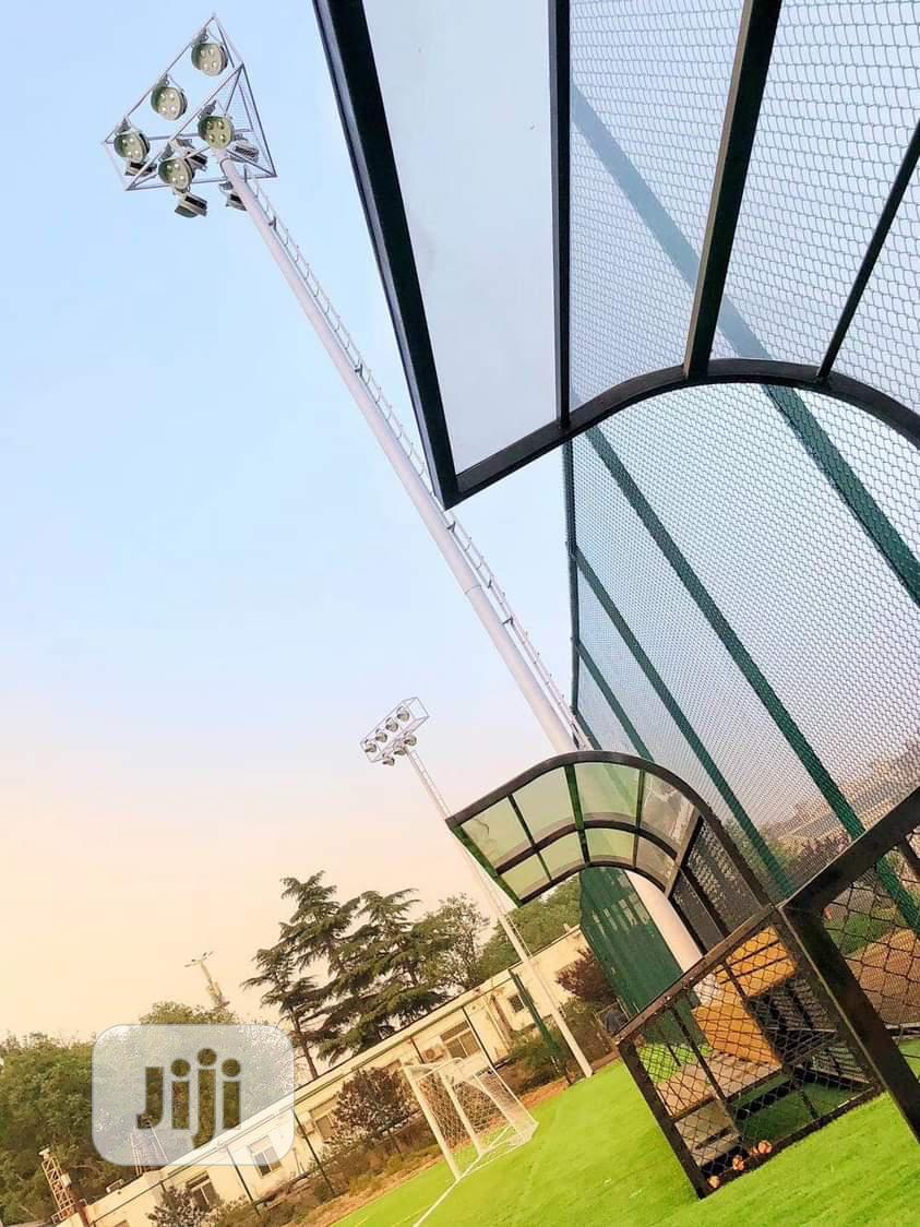 Construction Of Stadium Light And Scoreboard