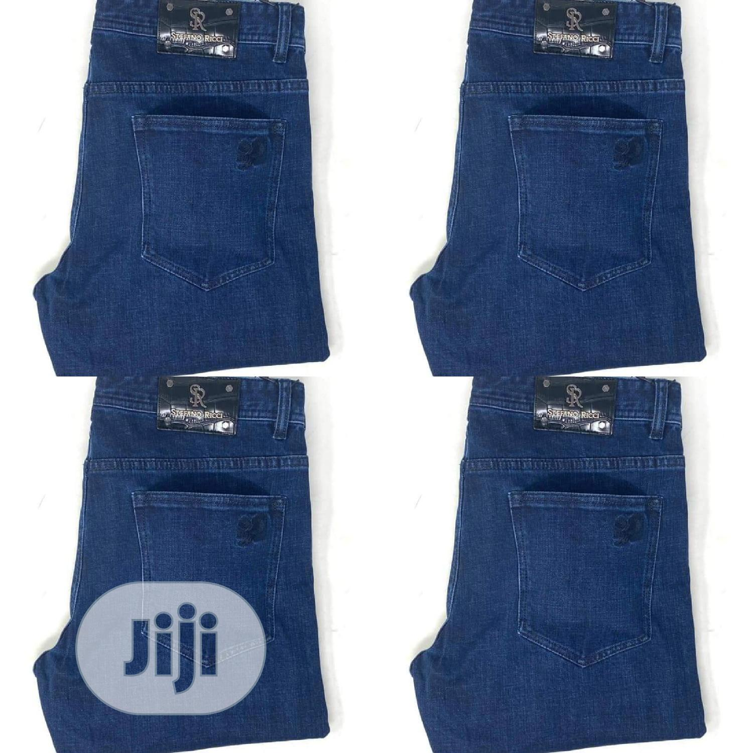 Stefaon Ricci Navy Blue Jeans Original   Clothing for sale in Surulere, Lagos State, Nigeria