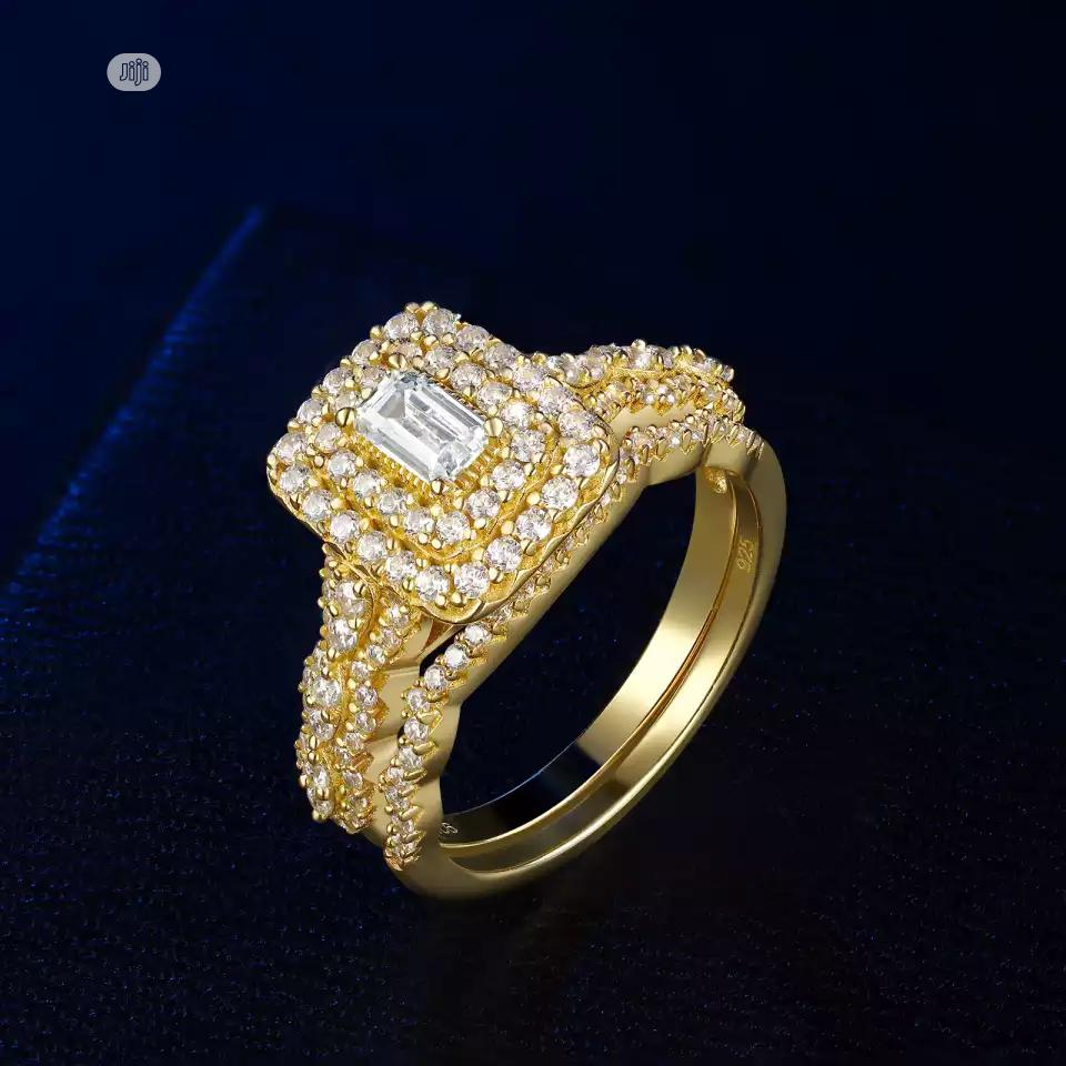Hog Gold Colour S925 Silver Wedding and Engagement Ring