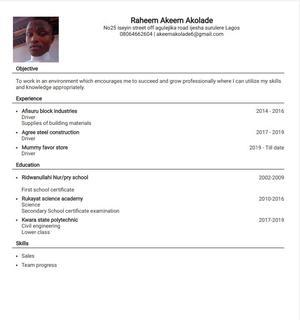 Raheem Akeem Akolade   Driver CVs for sale in Lagos State, Surulere