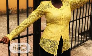 A Yellow Long Sleeve Lace Shirt | Clothing for sale in Lagos State, Ikeja