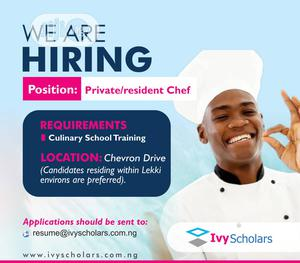 Professional Residential Chef wanted   Restaurant & Bar Jobs for sale in Lagos State, Lekki