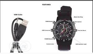 16GB Waterproof Spy Camera Wrist Watch Black | Security & Surveillance for sale in Ondo State, Akure