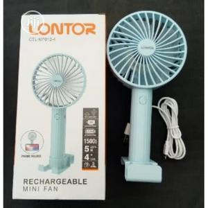 Lontor 4'' Rechargeable Mini Fan With Phone Holder | Home Appliances for sale in Rivers State, Port-Harcourt
