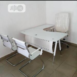 Classic White Office Chair With Table   Furniture for sale in Lagos State, Surulere