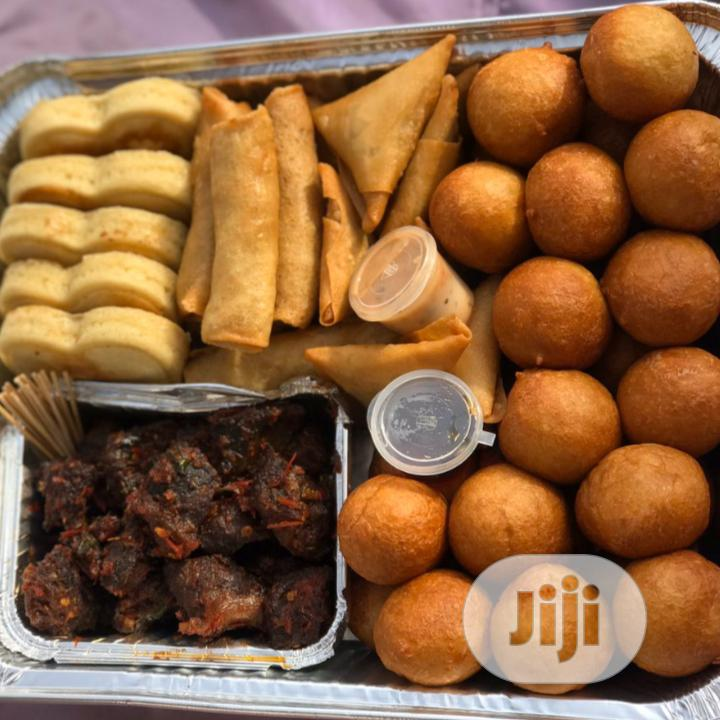 Delicious Small Chops With Love Shape Cake