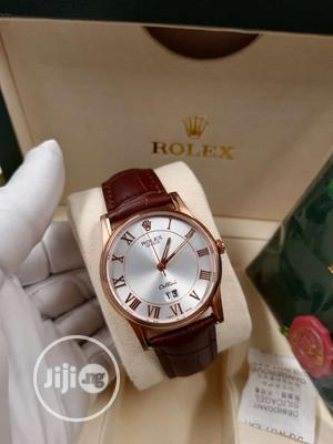 Rolex Flat Rose Gold Leather Strap Watch   Watches for sale in Lagos State, Lagos Island (Eko)