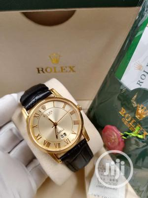 Rolex Flat Gold Leather Strap Watch   Watches for sale in Lagos State, Lagos Island (Eko)