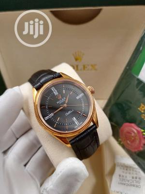 Rolex Rose Gold Leather Strap Watch   Watches for sale in Lagos State, Lagos Island (Eko)