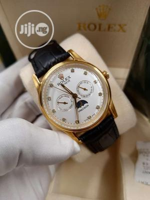 Rolex Chronograph Gold Leather Strap Watch   Watches for sale in Lagos State, Lagos Island (Eko)