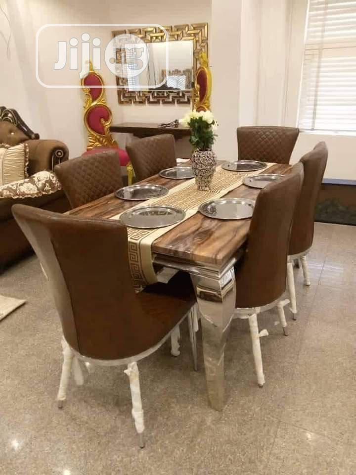 6seater Marble Dining Table With Six Solid Chairs