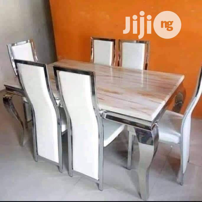 Quality Imported Marble Dining Table With Six Solid Chairs