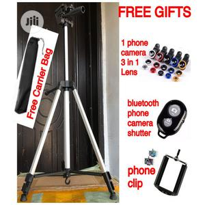 Portable Tripod Phone Stand Holder With Free 3 In 1 Lens | Accessories for Mobile Phones & Tablets for sale in Lagos State, Maryland